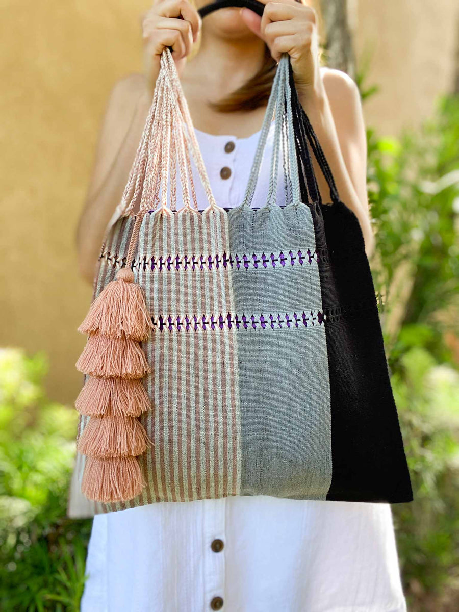 Handwoven Cotton Tote w/ Tassel - Black and Pink