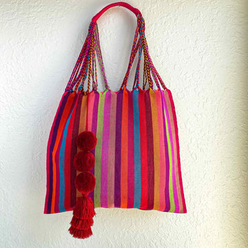 Handwoven Cotton Tote - Bright Rainbow Stripes