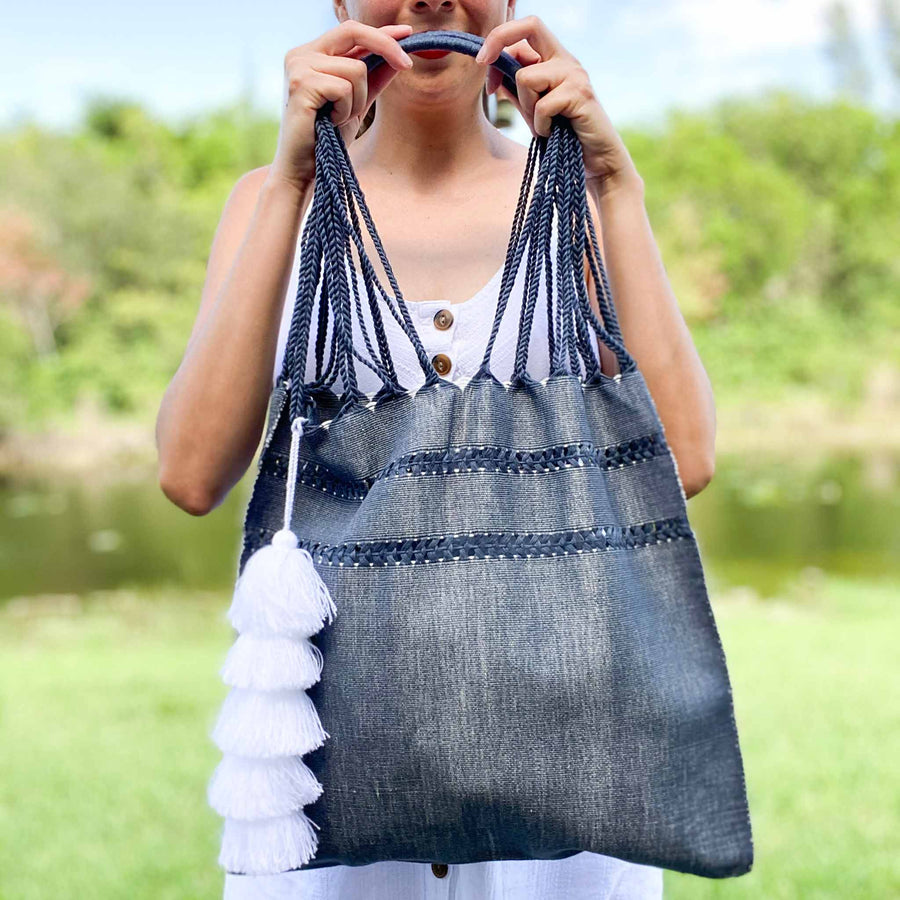 Handwoven Cotton Tote - Denim Blue