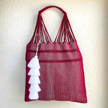 Handwoven Knotted Cotton Market Tote w/ Tassel - Wine Red