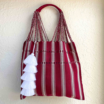 Handwoven Knotted Cotton Market Tote w/ Tassel - Red and White Stripes