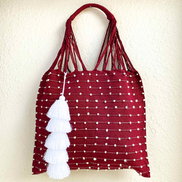 Handwoven-Summer Tote-Bag-in-Burgundy