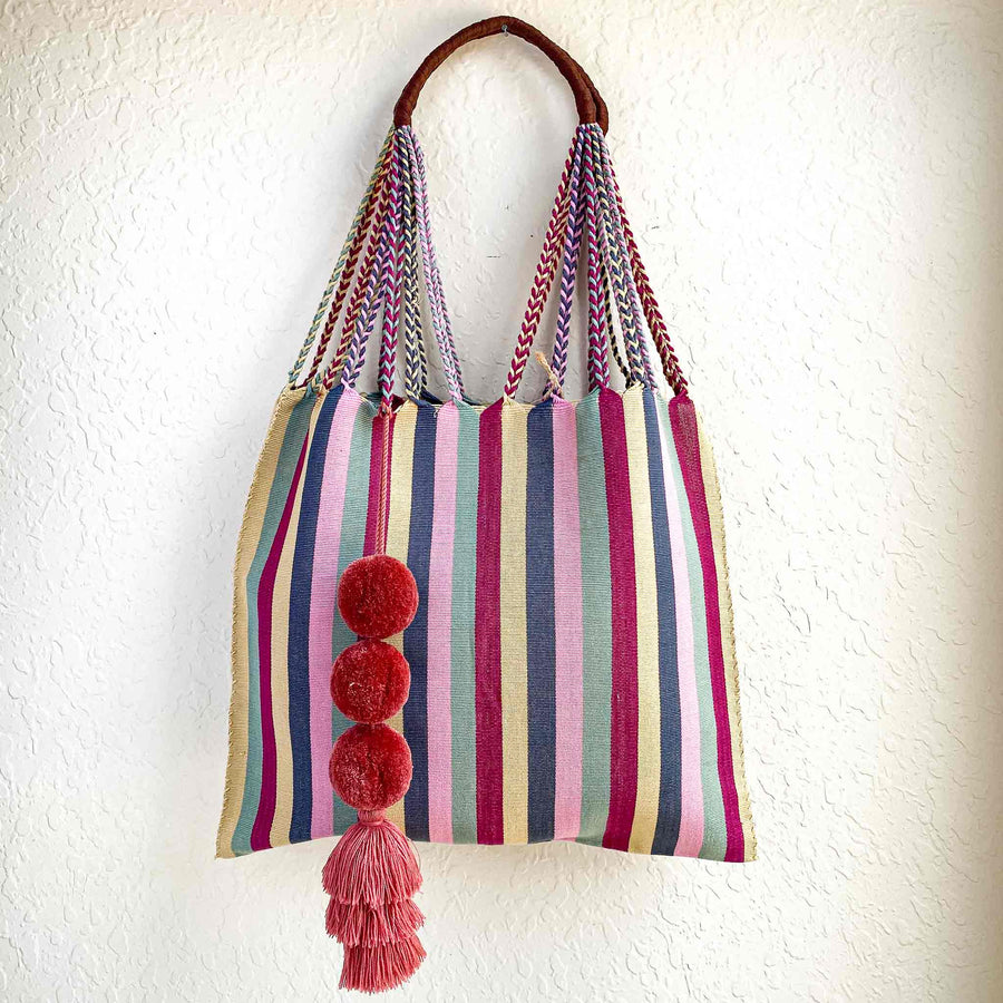Handwoven Cotton Tote - Cherry Stripes