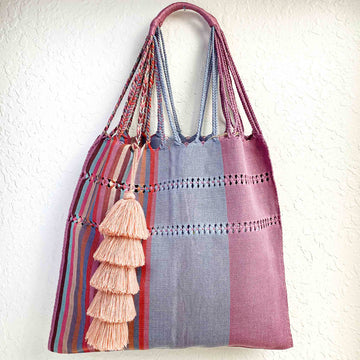 Handwoven Cotton Tote - Light Steel Stripes