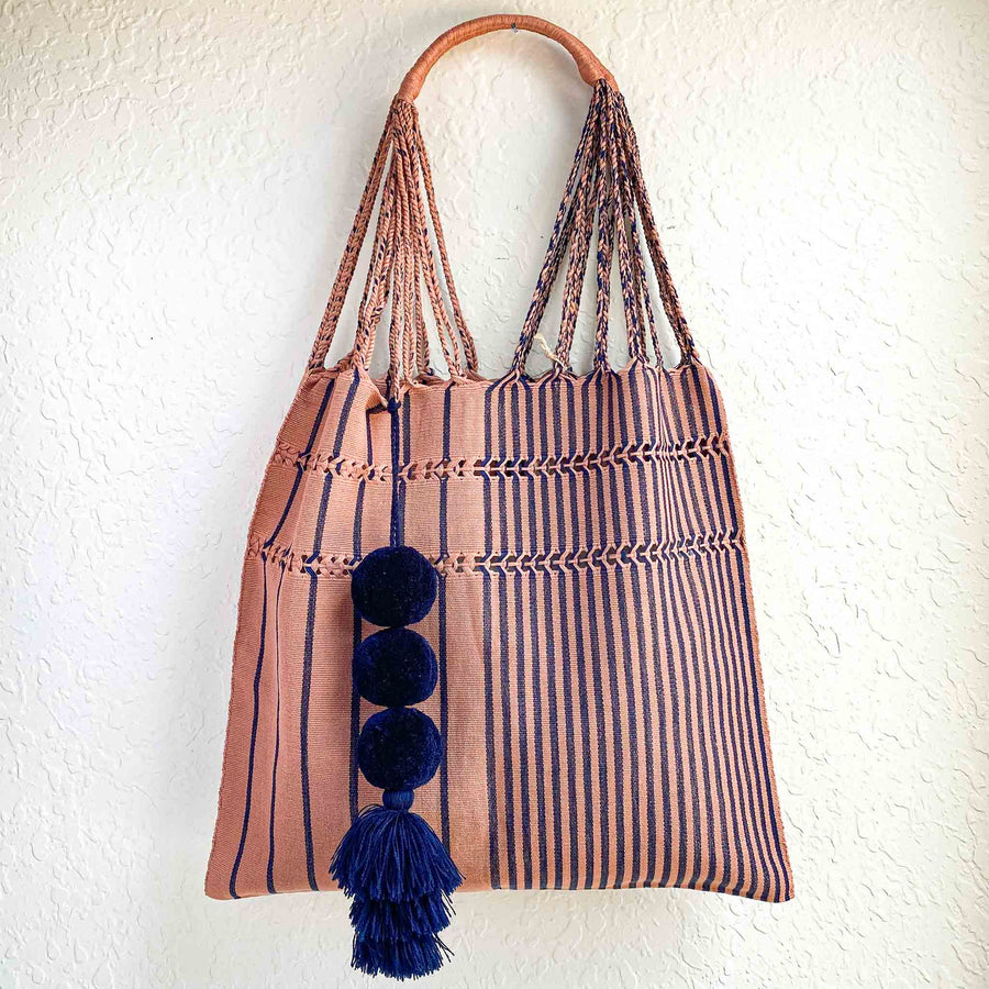 Handwoven Cotton Tote - Mauve in Navy Stripes
