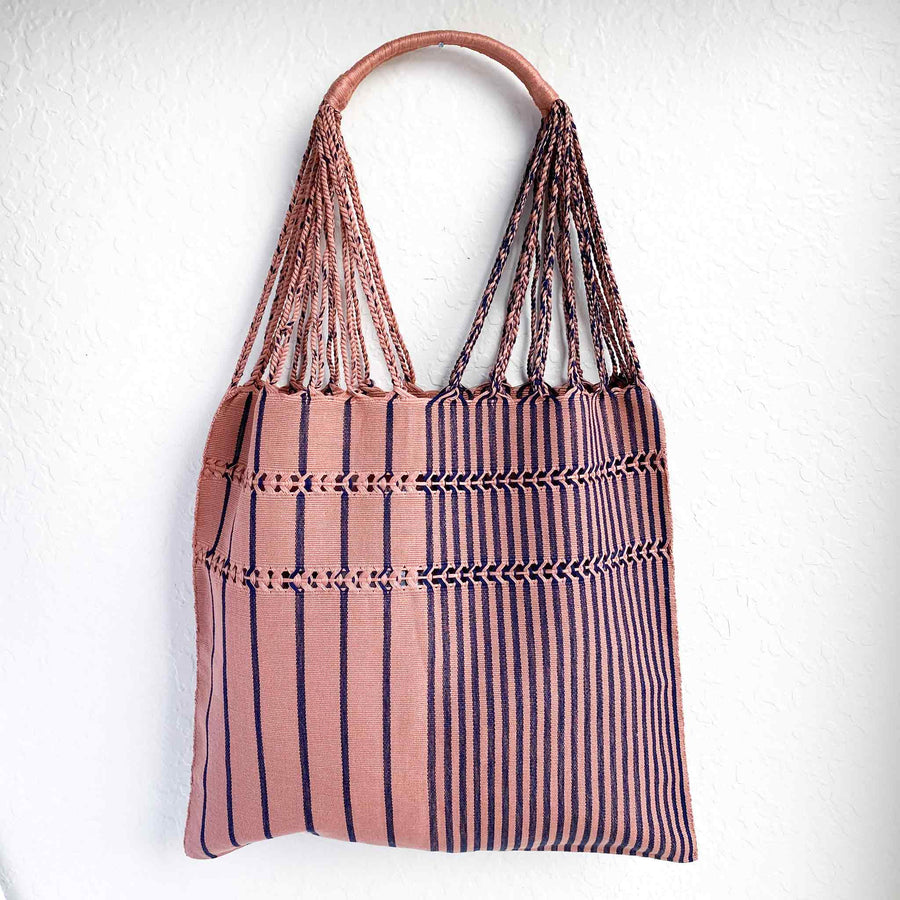 Handwoven-Loom-Tote-Bag-in-Mauve-in-Navy-Stripes