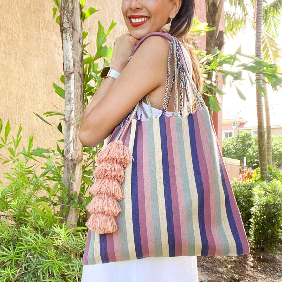 Handwoven Cotton Tote w/ Tassel - Navy Rose Stripes