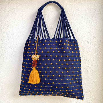Handwoven Knotted Cotton Market Tote w/ Tassel - Navy