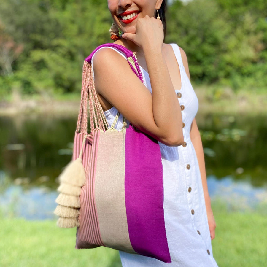 Handwoven Cotton Tote - Pink & Olive