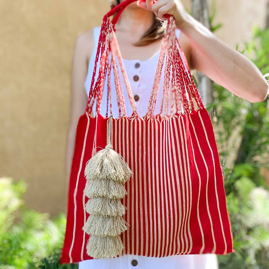 Handwoven Cotton Tote - Red/Beige Stripes