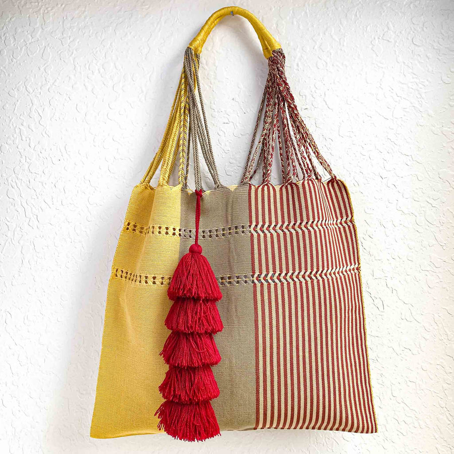 Handwoven Cotton Market Tote w/ Tassel - Yellow & Maroon