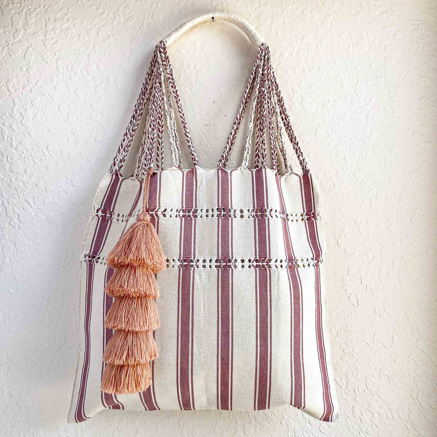 [PRE-ORDER] Limited Edition Beige and Pink Stripe Tote Bag