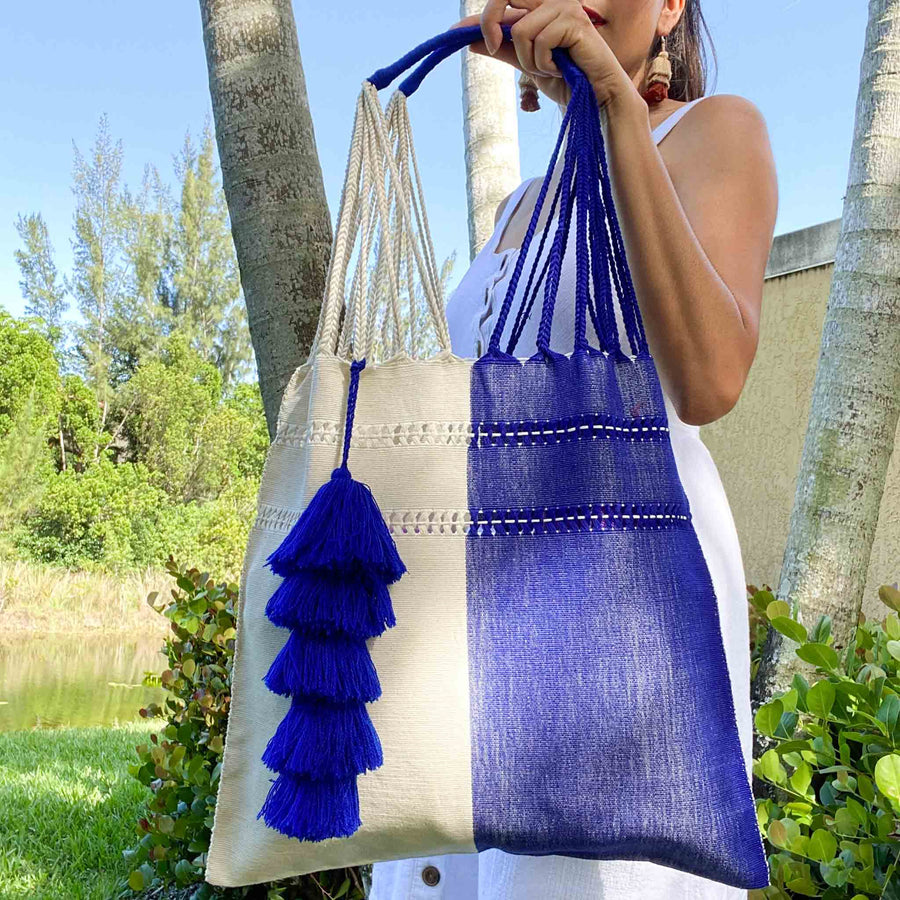 Handwoven Market Tote w/ Tassel - Beige and Royal Blue