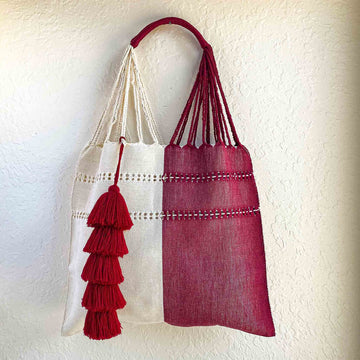 Handwoven Market Tote w/ Tassel - Beige and Wine Red