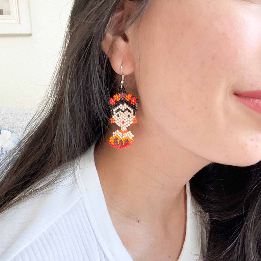 Handbeaded Huichol Frida Earrings