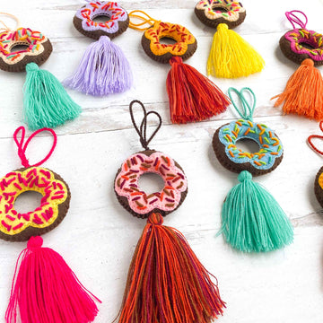 Mini Embroidered Donut Tassels (Chocolate)