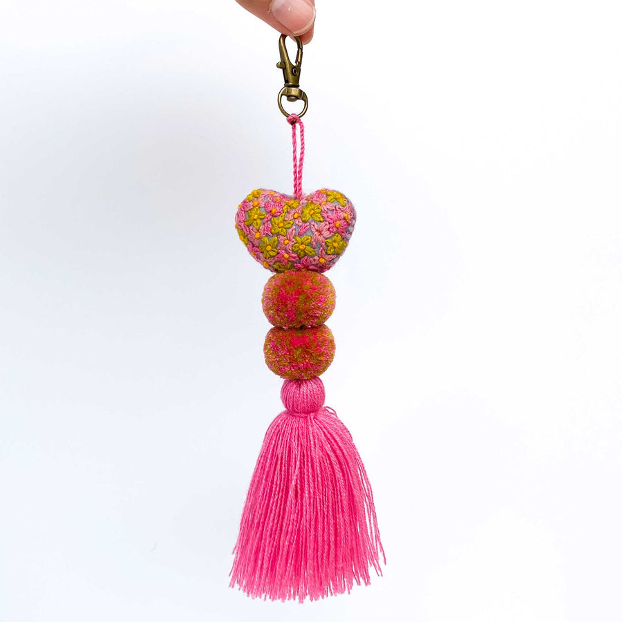 Mini Embroidered Heart Pom-Tassel Keychains