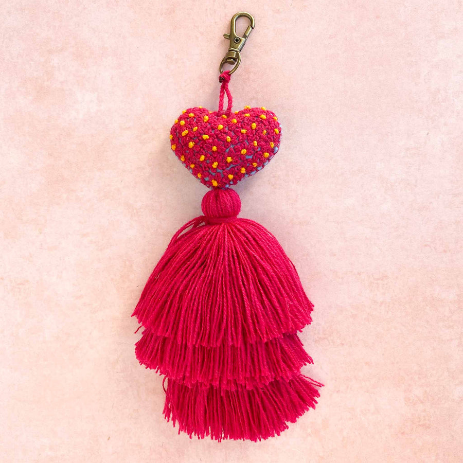 Mini Embroidered Heart Tassel Keychains
