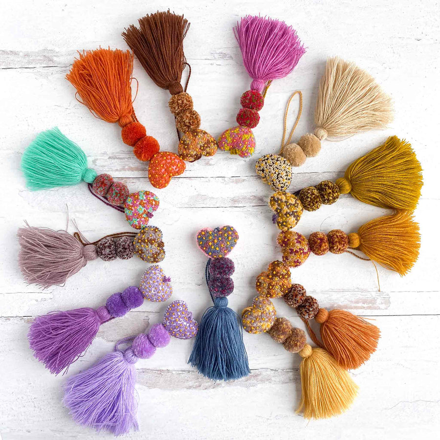 Mini Embroidered Heart Pom-Tassels