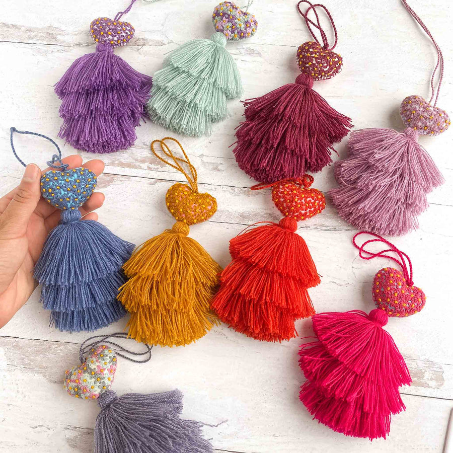 Mini Embroidered Heart Tassels