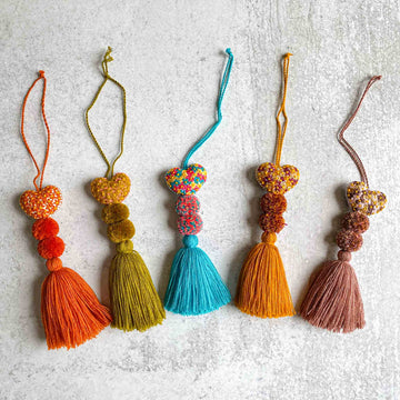 Mini Embroidered Heart Pom-Tassels - The OG's