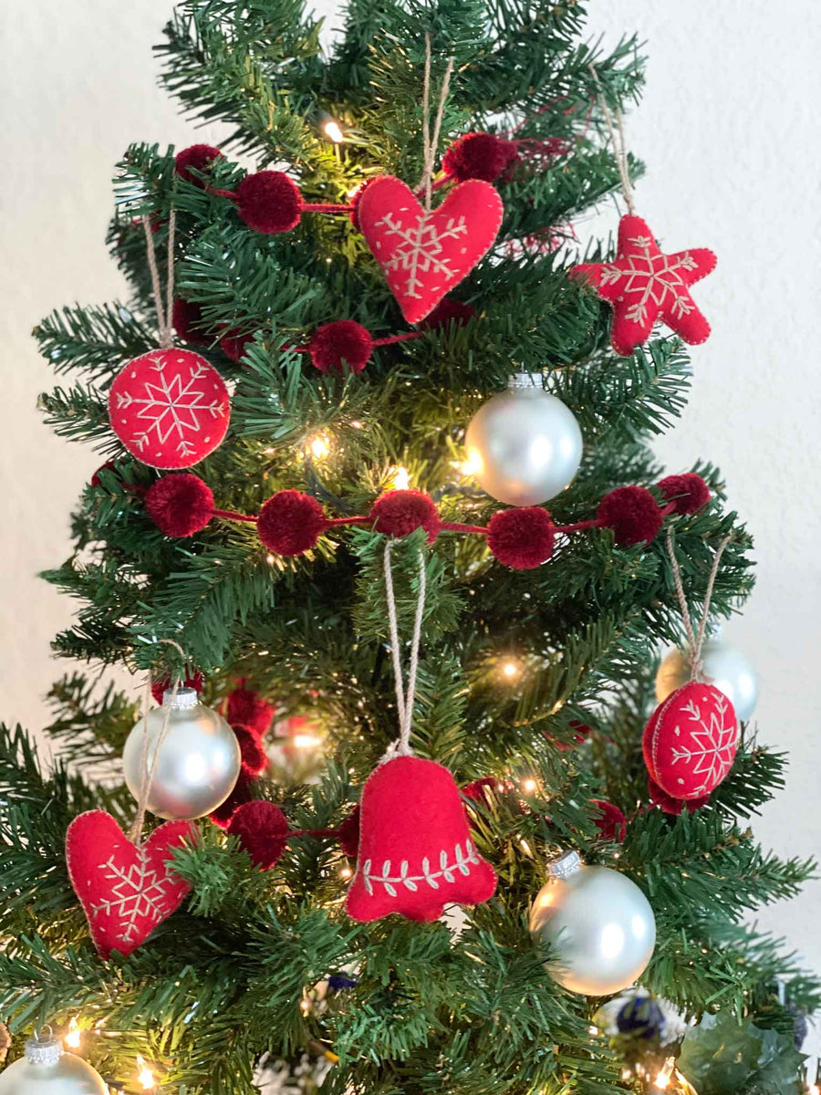 Embroidered Felt Holiday Ornaments + Pom Garlands - Red (Set of 6)