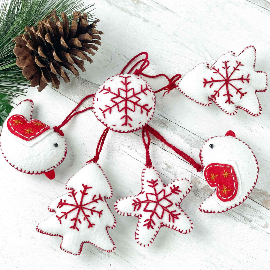 Embroidered Felt Holiday Ornaments - White and Red (Set of 6)