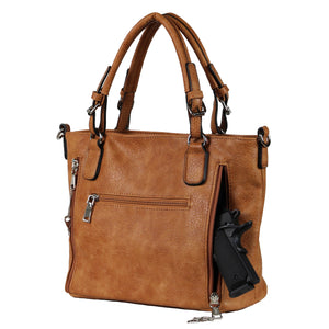 Concealed Carry Ella Braided Tote by Lady Conceal, Cinnamon