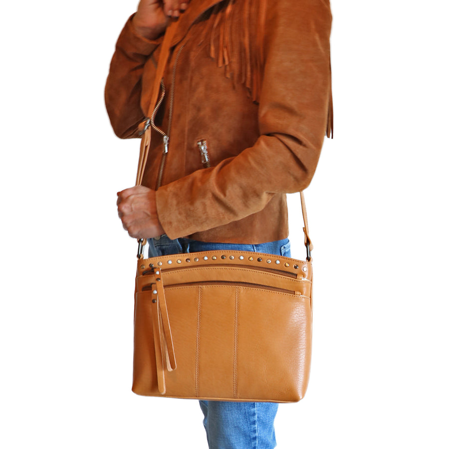 Concealed Carry Brynn Arched Leather Crossbody by Lady Conceal