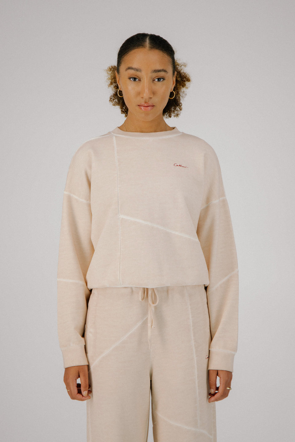 Deconstructed Crewneck Pale Beige