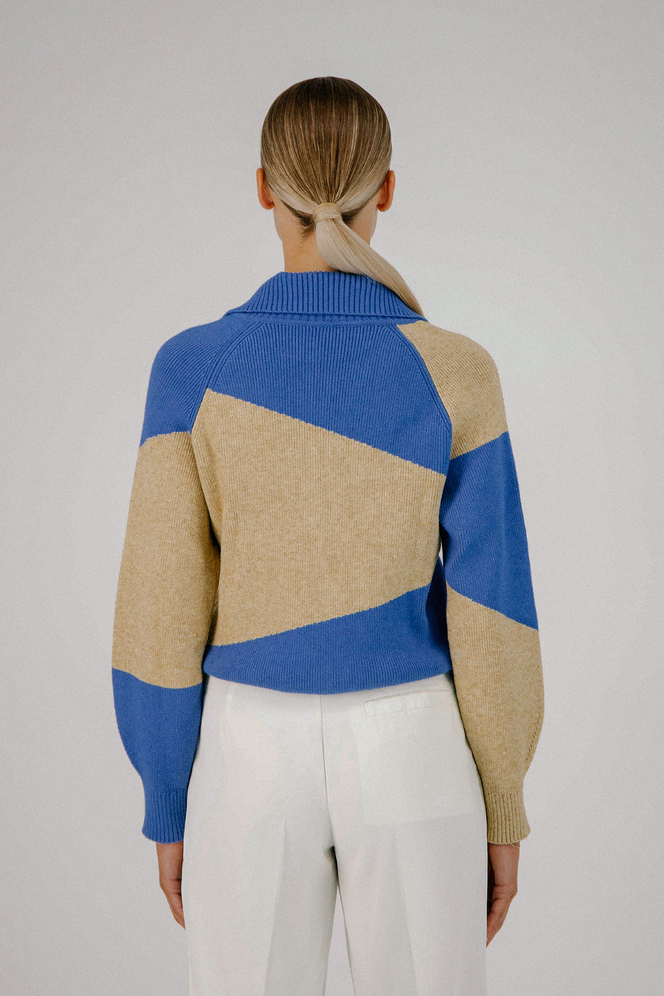 DECONSTRUCTED KNIT SWEATER OATMEAL / BLUE