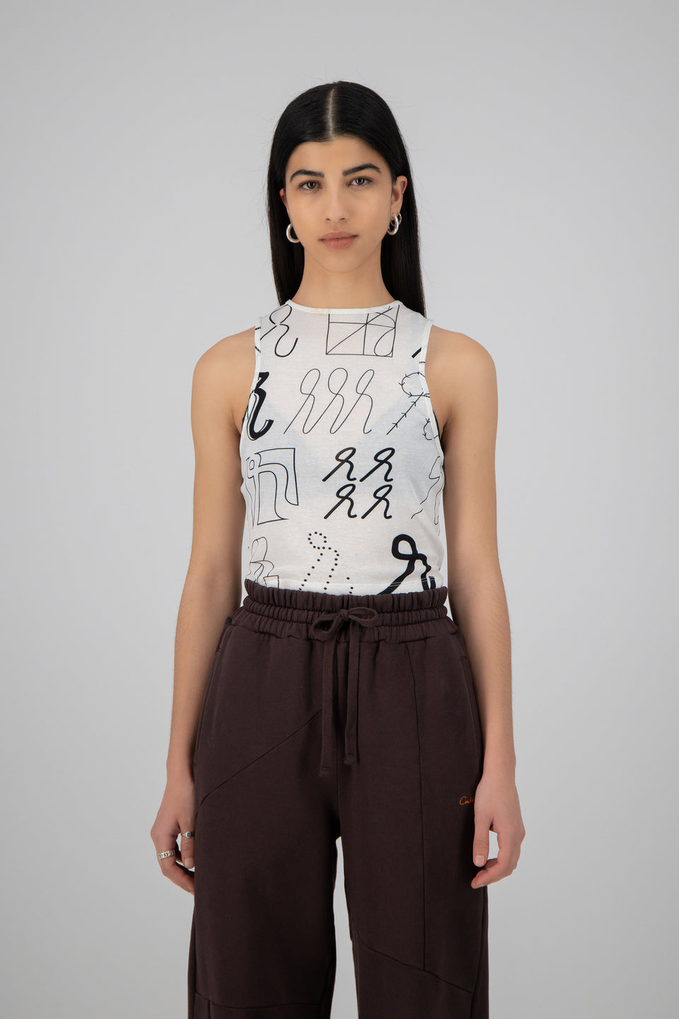 Krul Emblazoned Racer Top White/Black