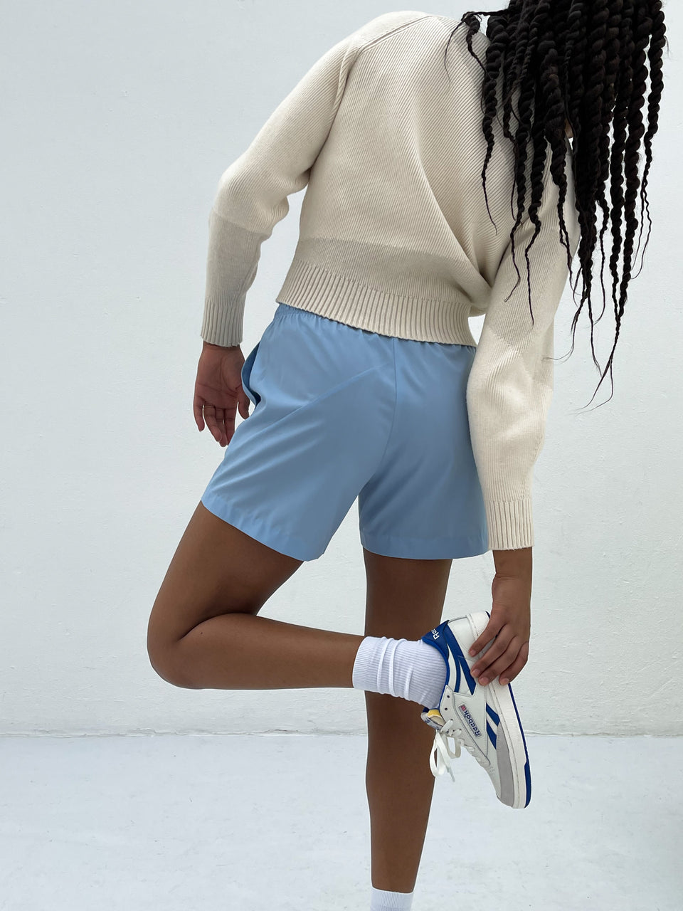 Deconstructed Cotton Shorts Light Blue