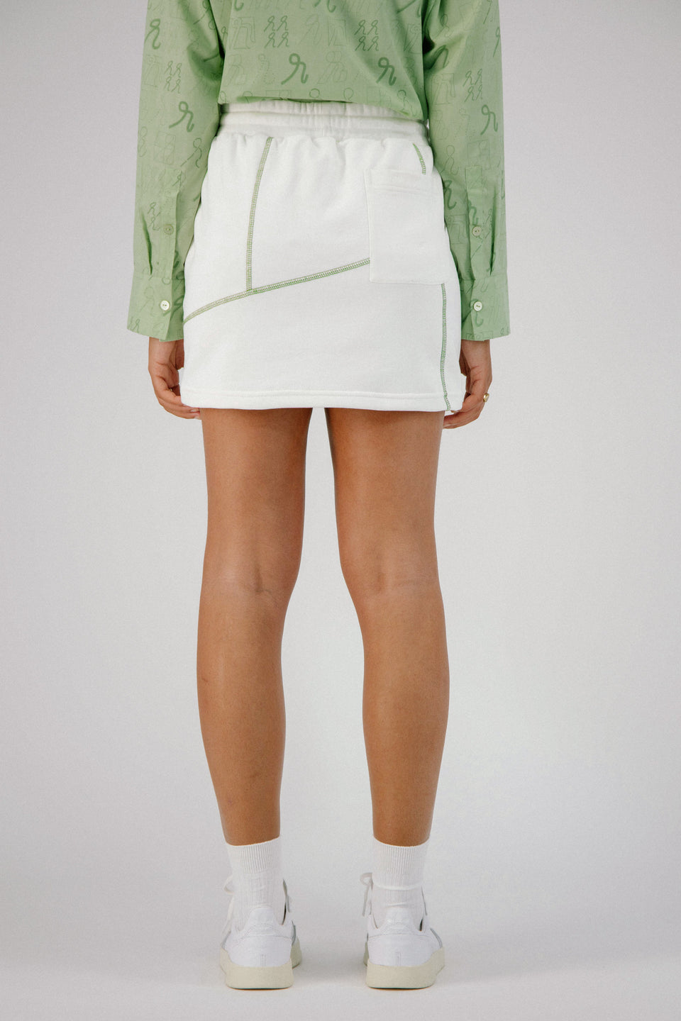 Deconstructed Mini Skirt White