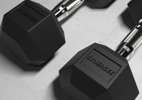 Synergee Rubber Hex Dumbbells 5-50lbs