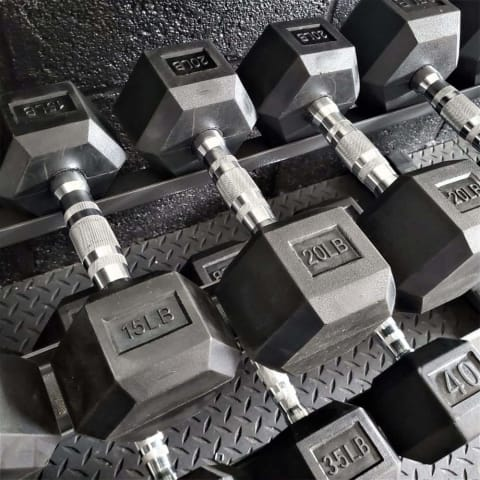 MuscleMax Fitness Rubber Hex Dumbbells 10-50lbs