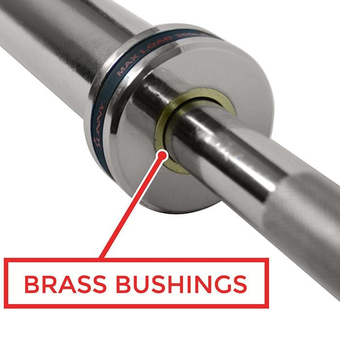 sunny-health-fitness-strength-34-olympic-tricep-bar-w-ring-collars-OB-37-brass-bushings