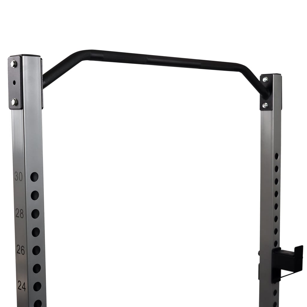 sunny-health-fitness-strength-power-squat-rack-high-weight-capacity-weight-plate-storage-swivel-landmine-and-band-attachments-SF-BH6802-knurledgrippullupbar