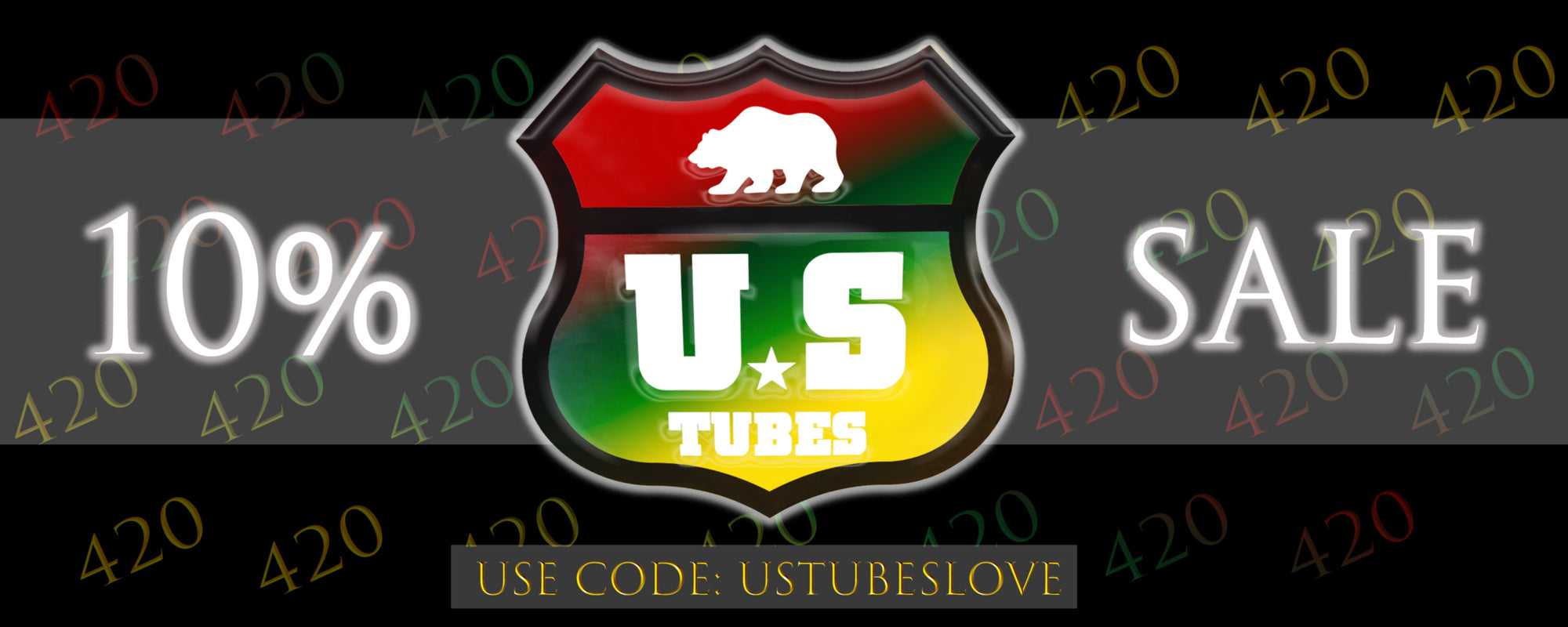 US TUBES 420 Sale Banner with Rasta Color theme