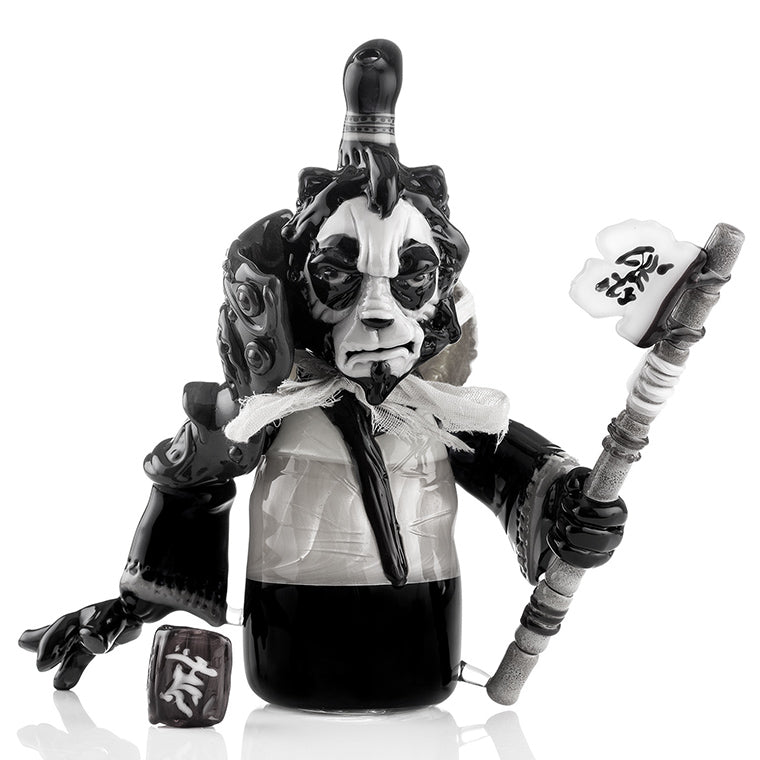 Black and White Photo of a Glass Sculpted Panda Warrior