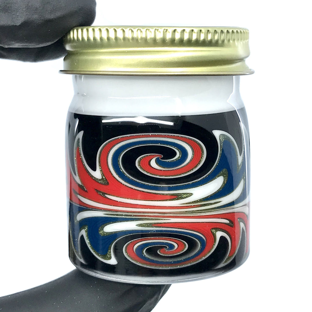 Empty1 Glass Baller Jar White Black Red and Blue