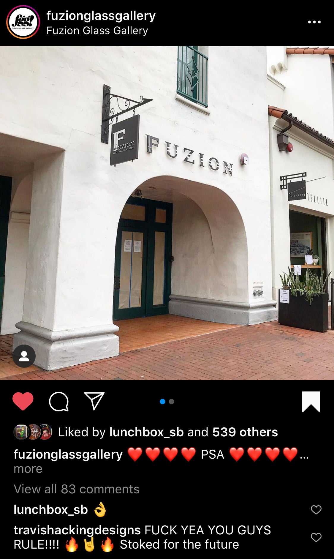Fuzion Glass Gallery Renovation Instagram Post