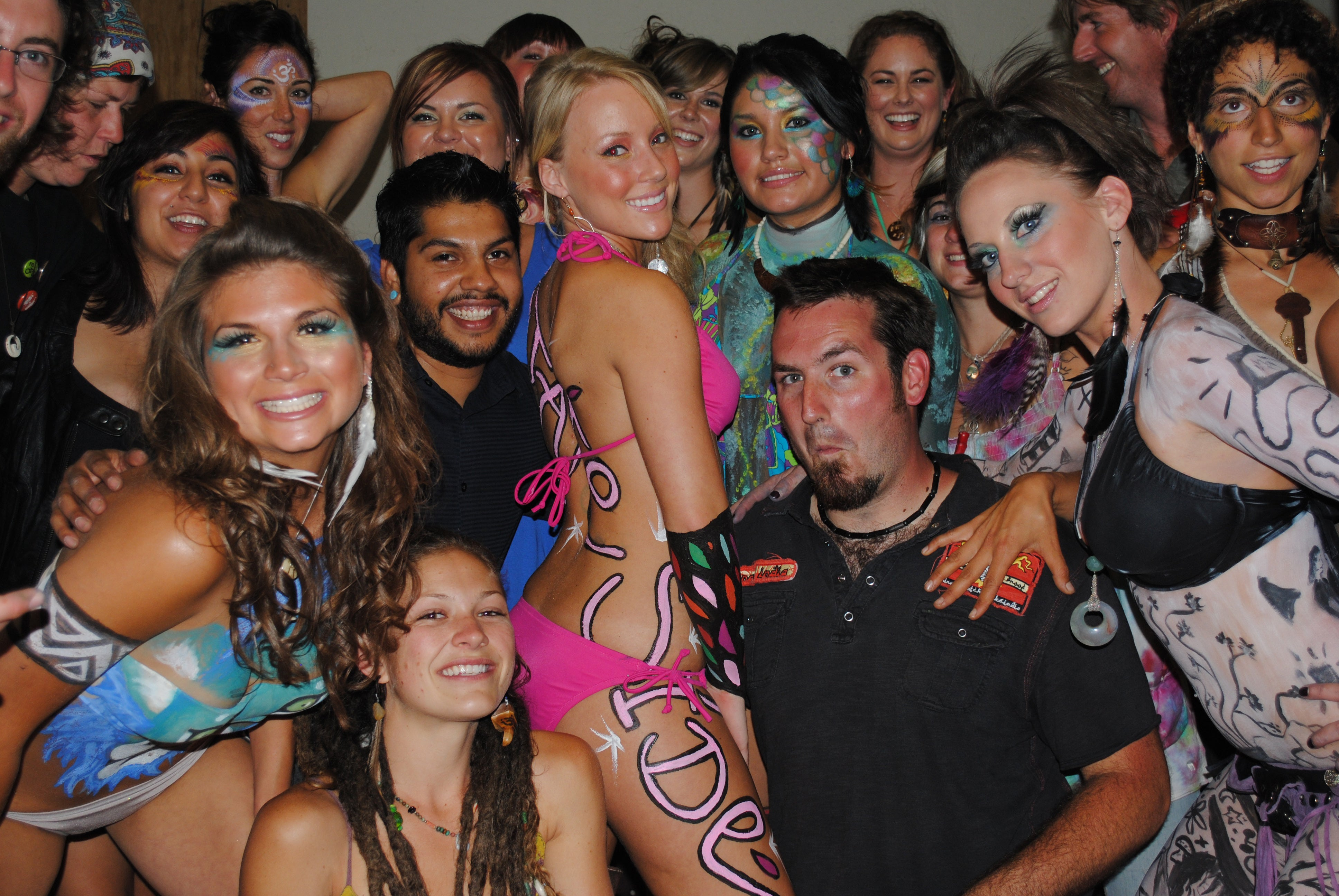Group of people, body painting event