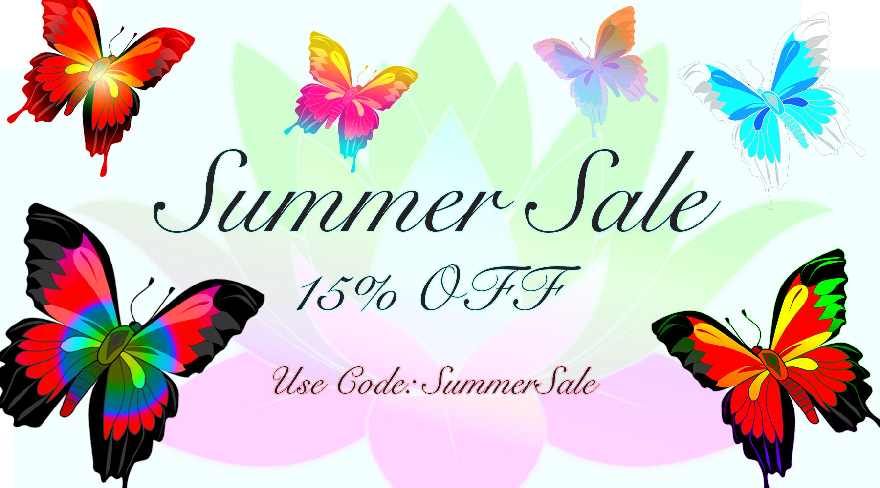 Summer Sale Banner: use summersale for 15% OFF