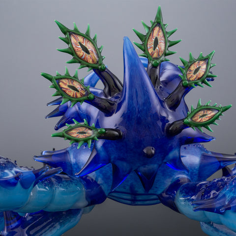 Photo of a Tim Lindemann Alien Crab piece of glass art.