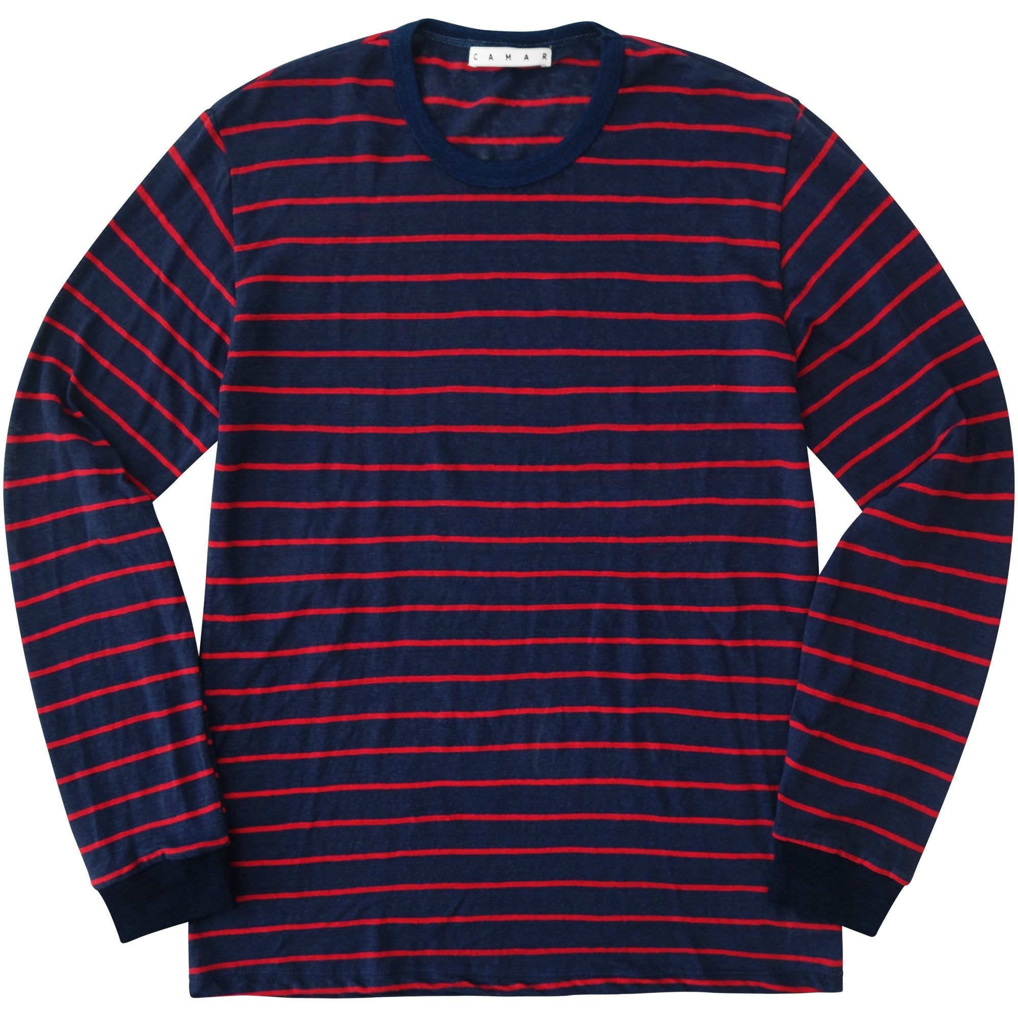 Linen Stripe Long Sleeve (Red) - Camar