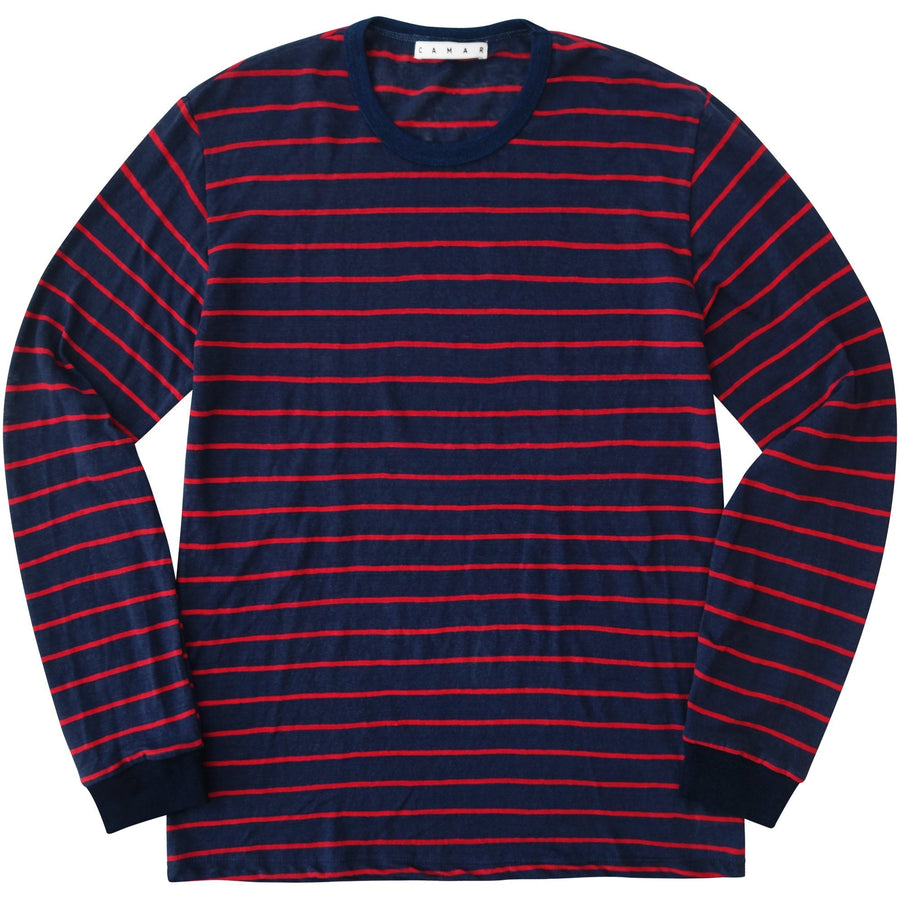 Linen Stripe Long Sleeve (Red)