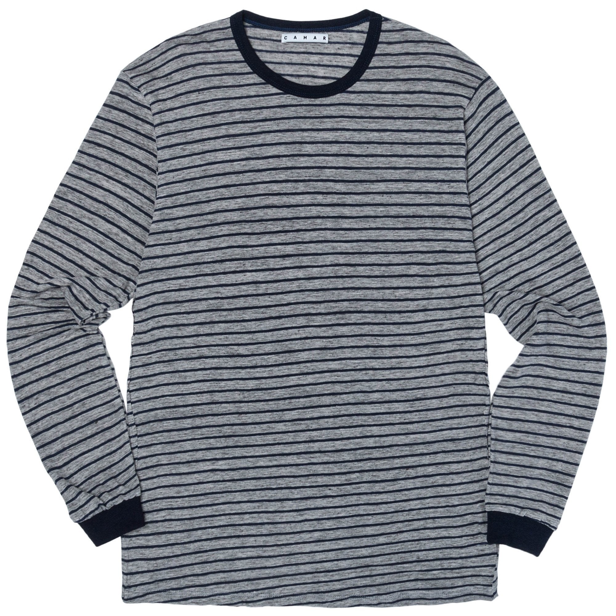 Long Sleeve Blue Stripe Shirt (Heather/Navy)