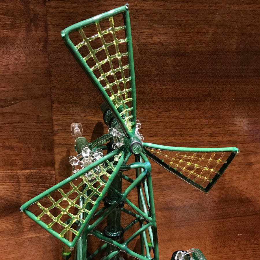 Windmill Fab Egg Water Pipe w/ Honey Bucket - Green Stardust/illuminati UV