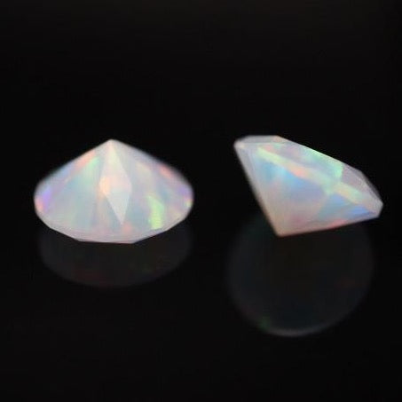 8mm Diamond Cut Opal by Ruby Pearl Co (White Opal)